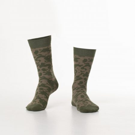 Khaki Color Camouflage Patterned Socks