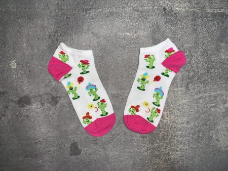Cactus Ankle Low Cut Socks - White