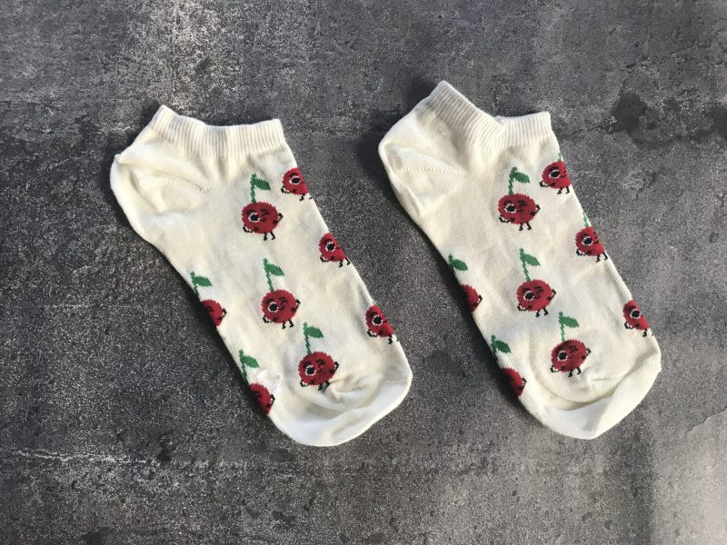 Cherry Ankle Low Cut Socks - White