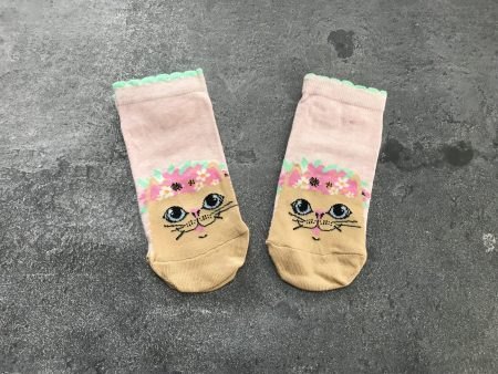Cream Cat Ankle Low Cut Socks - Pink
