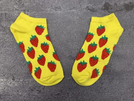 Strawberry Ankle Low Cut Socks - Yellow