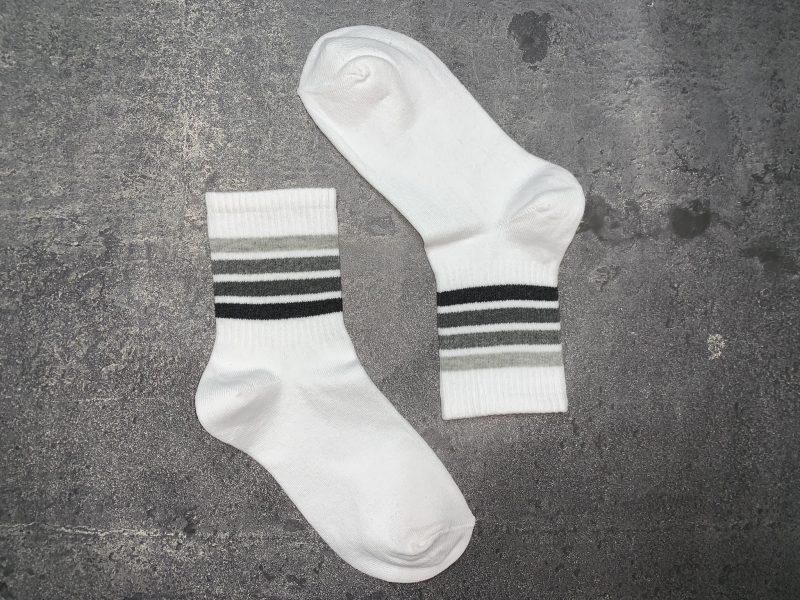 Tennis Gray Tone Lines Socks - White