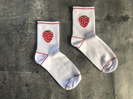 Tennis Strawberry Socks - White