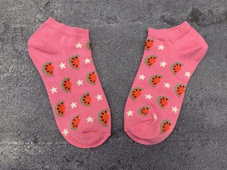 Watermelon Star Ankle Low Cut Socks - Pink