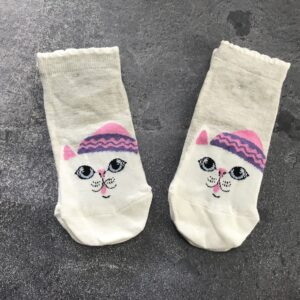 White Cat Ankle Low Cut Socks - Gray