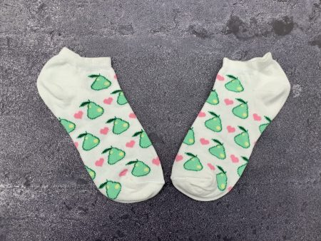 Green Pear Ankle Low Cut Socks - White