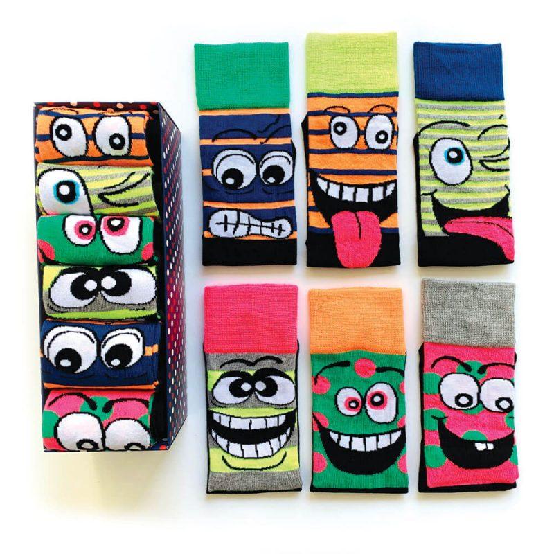 6 Pairs Colorful Characters Socks Box Bundle Pack