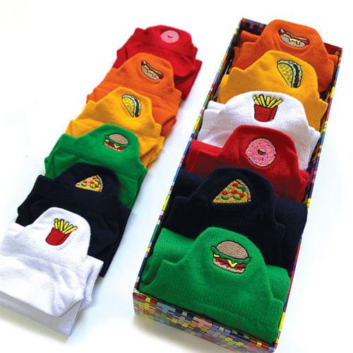 6 Pairs Embroidered Low Cut Socks Fast Food Socks Box Bundle Pack