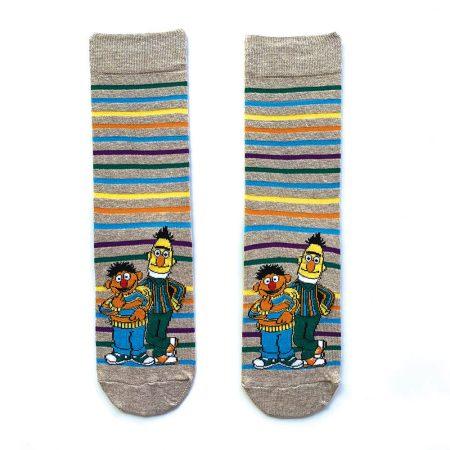 Bert and Ernie Striped Grey Socks - Sesame Street